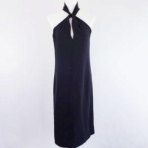 MaxMara Black Sleeveless Keyhole Midi Dress